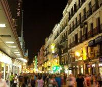 Calle de Preciados (street) in Centro district in Madrid (Spain).